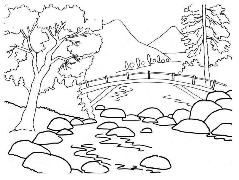 Những tranh tô màu phong cảnh cho bé tập tô (2)