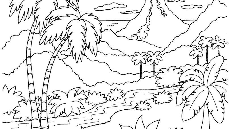 Những tranh tô màu phong cảnh cho bé tập tô (6)
