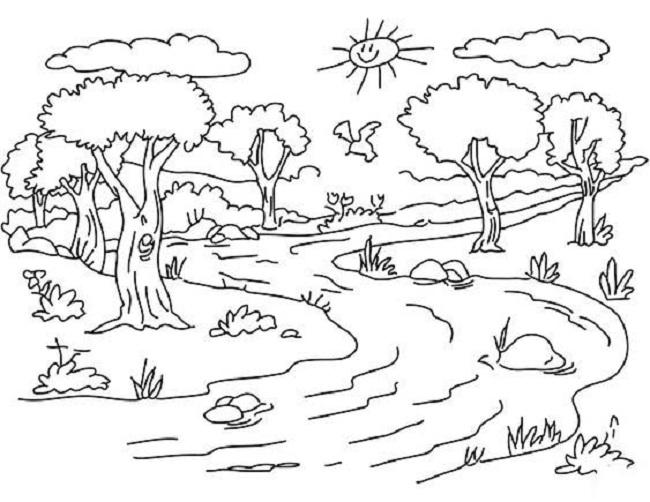 Những tranh tô màu phong cảnh cho bé tập tô (7)