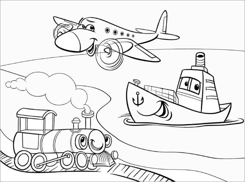 Những tranh tô màu phương tiện giao thông ngộ nghĩnh cho bé tập tô (2)