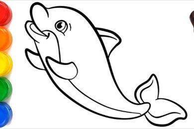 Tranh tô màu cá heo đẹp nhất