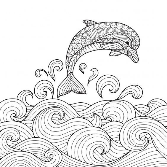 Tranh tô màu cá heo đẹp nhất cho bé tập tô (42)