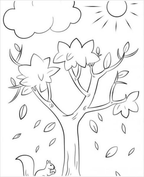 Tranh tô màu cây xanh đẹp nhất cho bé tập tô (33)