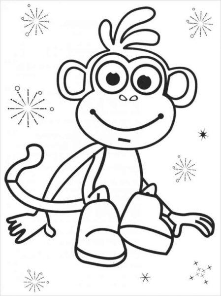Tranh tô màu con khỉ dễ thương cho bé tập tô (38)
