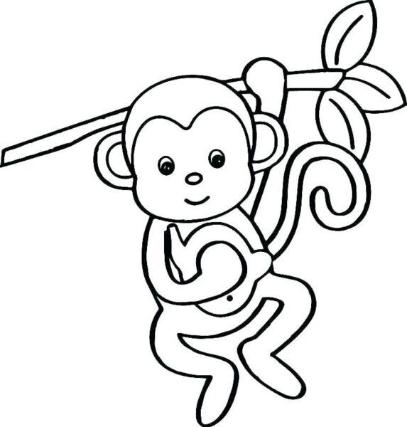 Tranh tô màu con khỉ dễ thương cho bé tập tô (39)