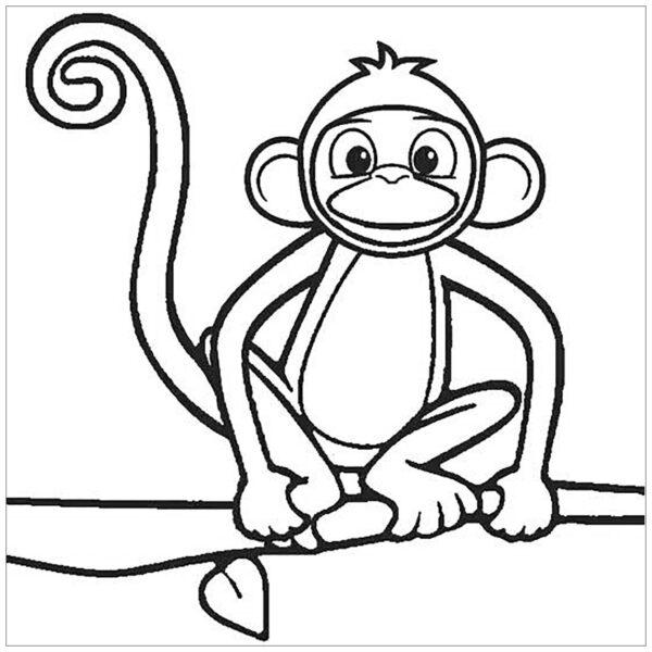 Tranh tô màu con khỉ dễ thương cho bé tập tô (40)
