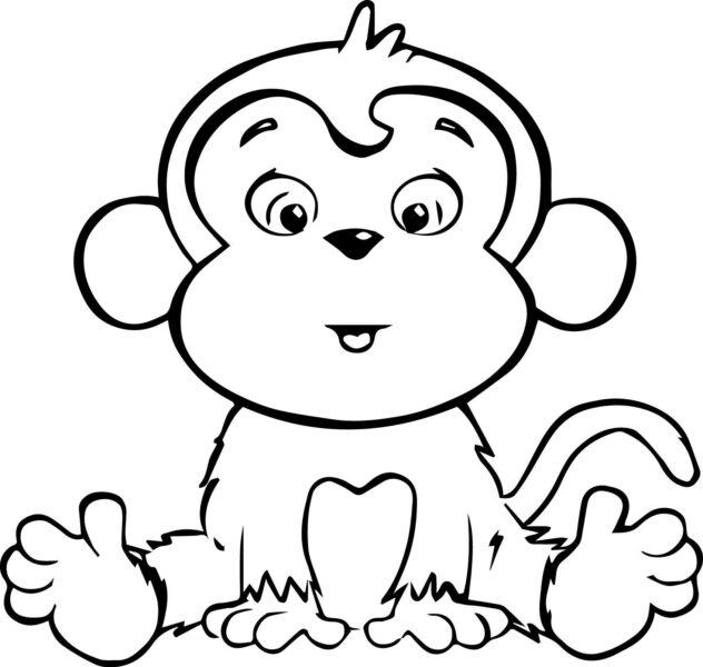 Tranh tô màu con khỉ dễ thương cho bé tập tô (43)