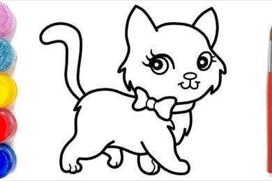 Tranh tô màu con mèo đẹp nhất