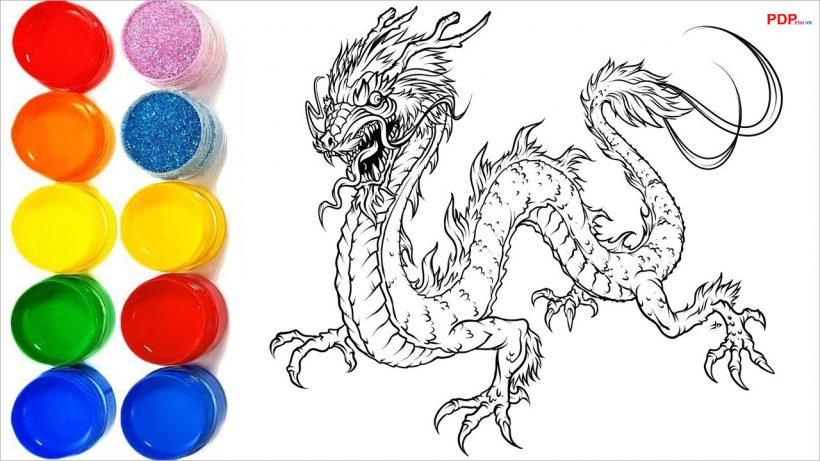 Tranh tô màu con rồng đẹp nhất