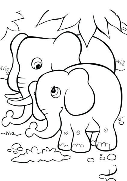 Tranh tô màu con voi đẹp nhất cho bé tập tô (18)