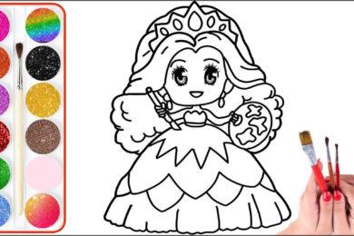 Tranh tô màu công chúa chibi đẹp nhất