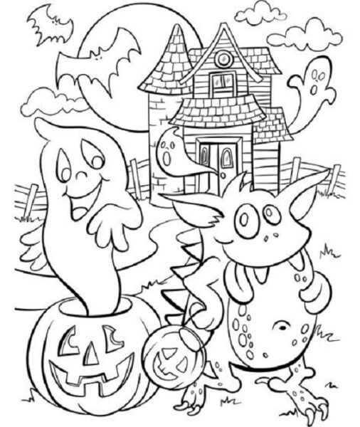 Tranh tô màu halloween hấp dẫn cho bé tập tô (19)