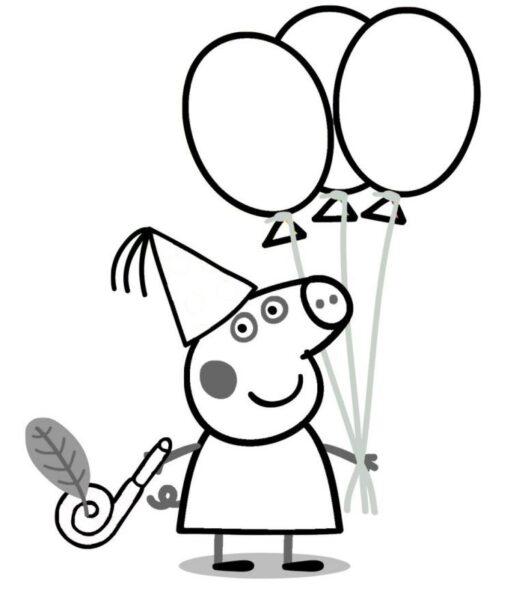 Tranh tô màu heo Peppa ngộ nghĩnh cho bé tập tô (20)