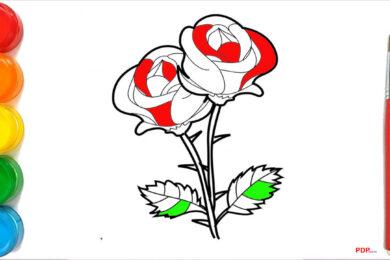 Tranh tô màu hoa hồng đẹp nhất