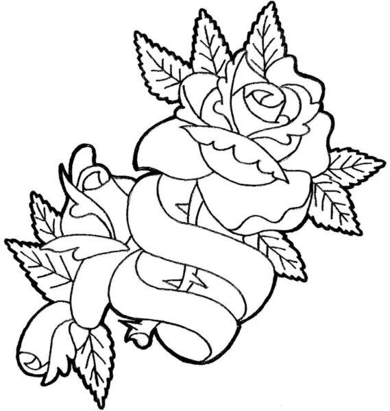 Tranh ve to mau hoa hong cho be