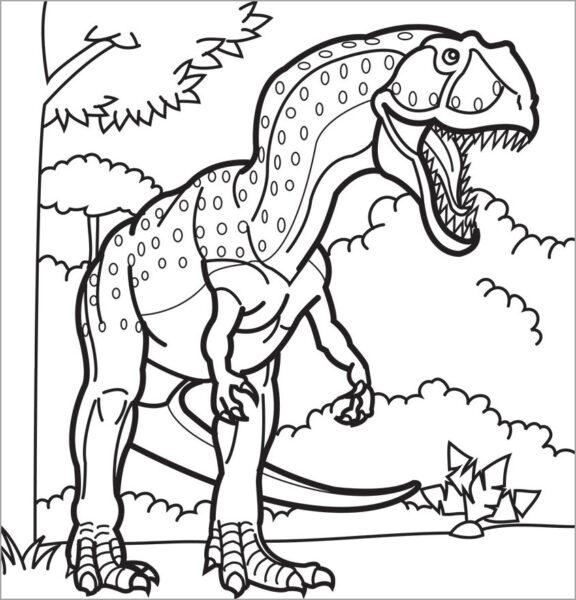 Tranh tô màu khủng long đẹp nhất cho bé tập tô (21)