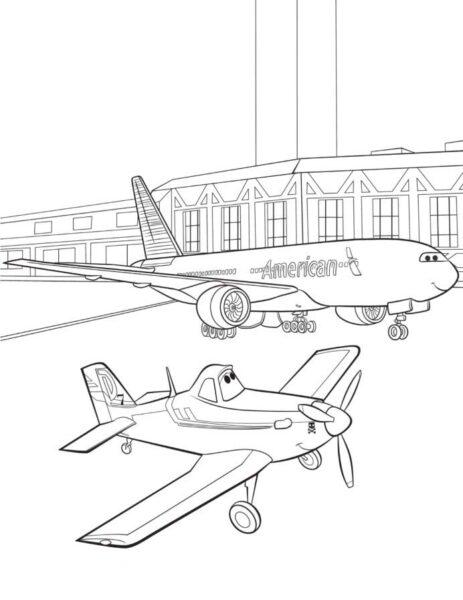Tranh tô màu máy bay đẹp nhất cho bé tập tô (42)