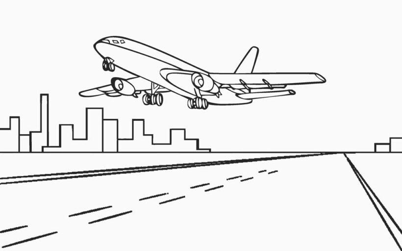 Tranh tô màu máy bay đẹp nhất cho bé tập tô (46)