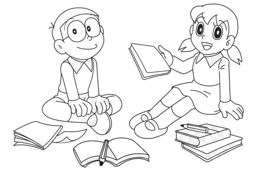 Tranh tô màu Nobita đáng yêu nhất cho bé tập tô (33)
