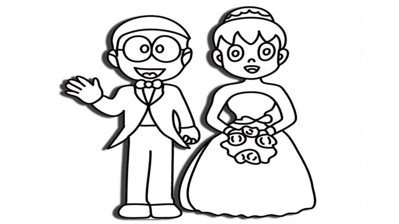 Tranh tô màu Nobita đáng yêu nhất cho bé tập tô (34)