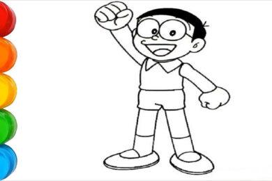 Tranh tô màu Nobita đẹp nhất
