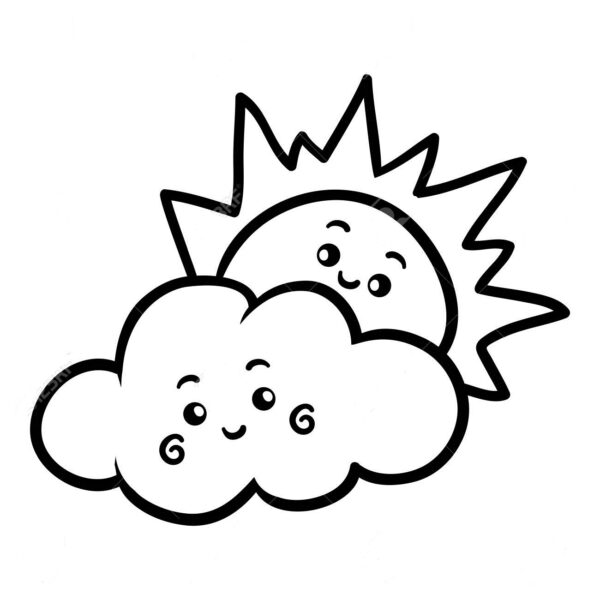 Coloring book, Sun and cloud with a cute face
