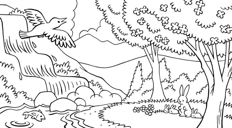 Tranh tô màu phong cảnh đẹp nhất cho bé tập tô (37)