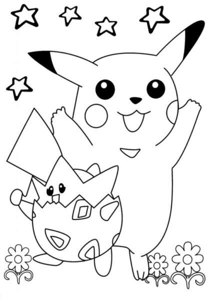 Tranh tô màu Pokemon ngộ nghĩnh cho bé tập tô (22)