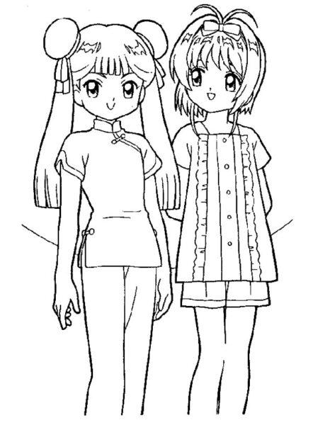 Tranh tô màu Sakura và tomoyo