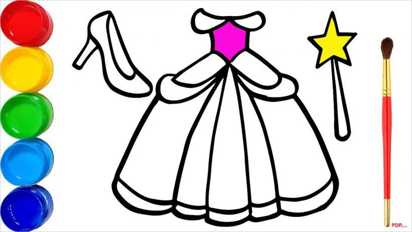 Tranh tô màu váy công chúa đẹp nhất