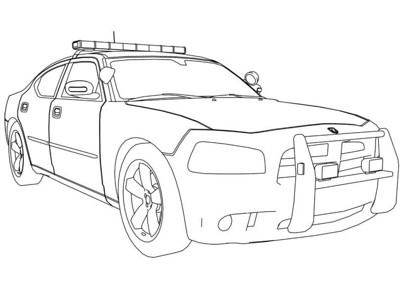 Tranh tô màu xe cảnh sát cho bé tập tô (40)