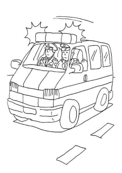Tranh tô màu xe cảnh sát cho bé tập tô (42)
