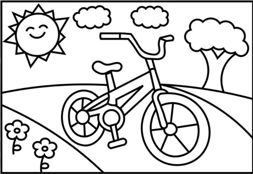 Tranh tô màu xe đạp