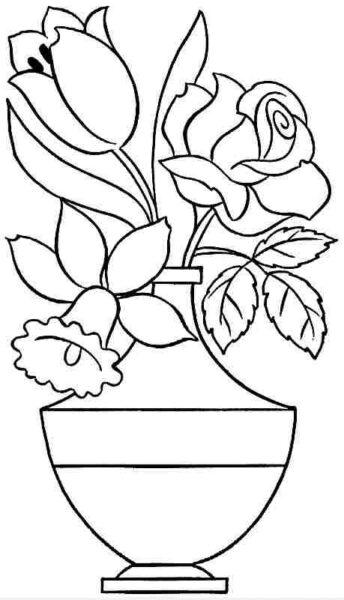 Tranh vẽ chưa tô màu bông hoa đẹp cho bé tập tô (1)