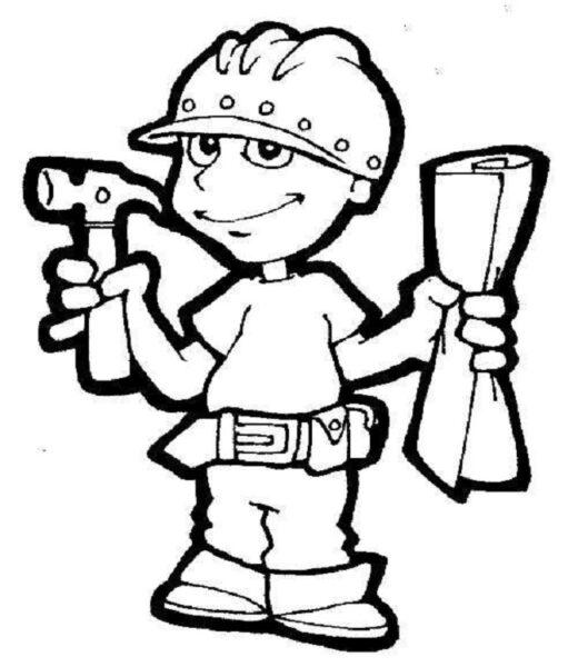 Tranh vẽ chưa tô màu chủ đề nghề nghiệp cho bé tập tô (3)
