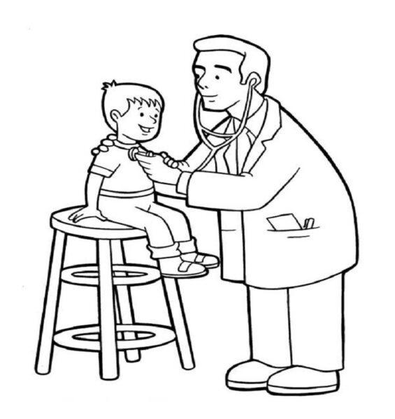 Tranh vẽ chưa tô màu chủ đề nghề nghiệp cho bé tập tô (5)