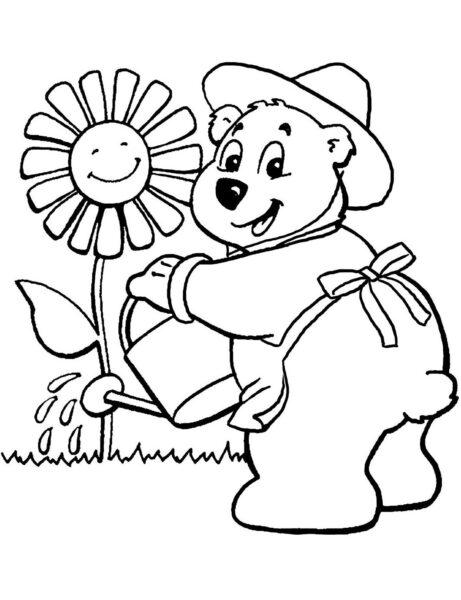 Tranh vẽ chưa tô màu con gấu dễ thương cho bé tập tô (1)