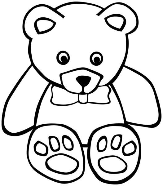 Tranh vẽ chưa tô màu con gấu dễ thương cho bé tập tô (2)