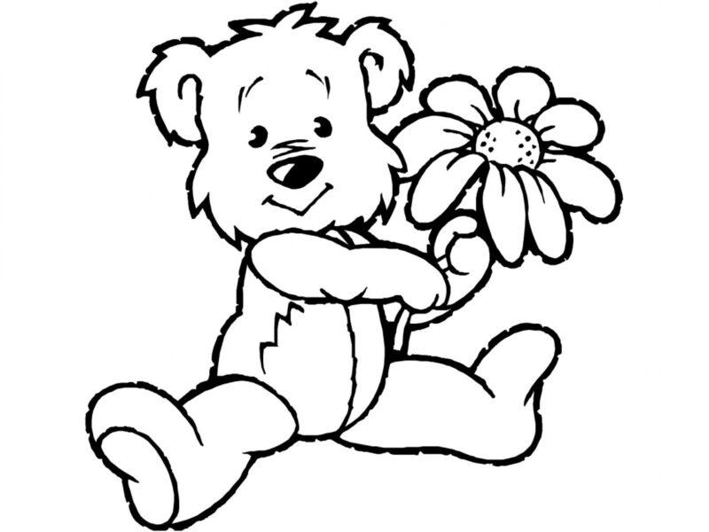 Tranh vẽ chưa tô màu con gấu dễ thương cho bé tập tô (3)