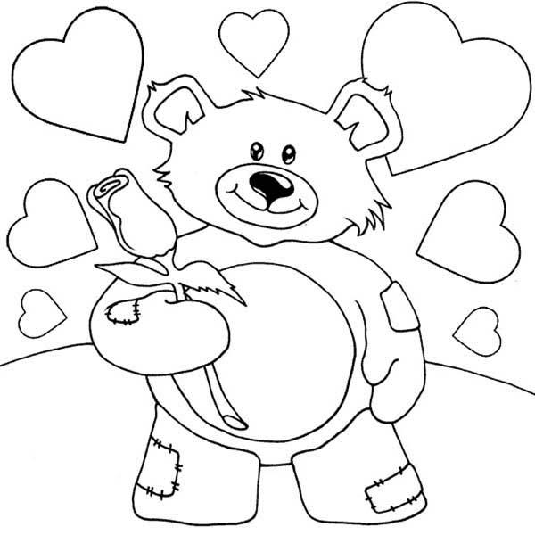 Tranh vẽ chưa tô màu con gấu dễ thương cho bé tập tô (4)