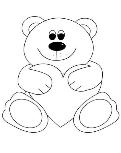Tranh vẽ chưa tô màu con gấu dễ thương cho bé tập tô (5)