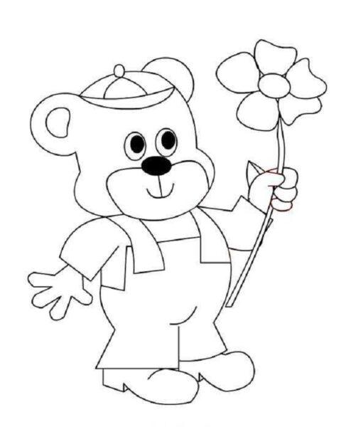Tranh vẽ chưa tô màu con gấu dễ thương cho bé tập tô (6)