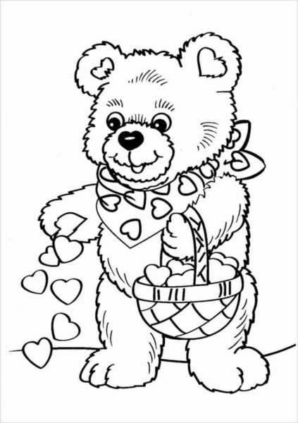 Tranh vẽ chưa tô màu con gấu dễ thương cho bé tập tô (7)