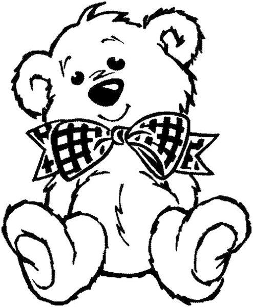 Tranh vẽ chưa tô màu con gấu dễ thương cho bé tập tô (8)