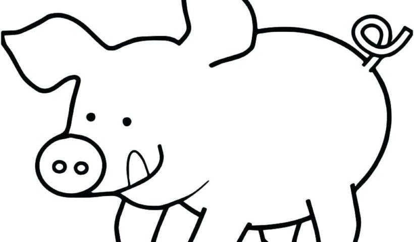 Tranh vẽ chưa tô màu con heo đáng yêu cho bé tập tô (4)