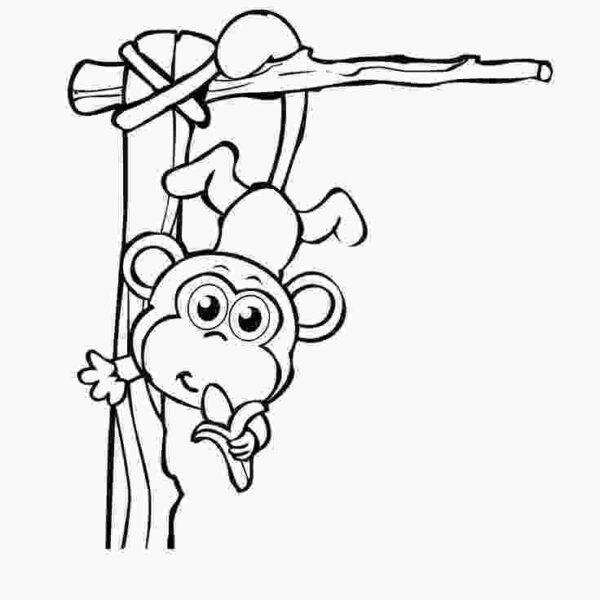 Tranh vẽ chưa tô màu con khỉ đáng yêu cho bé tập tô (1)