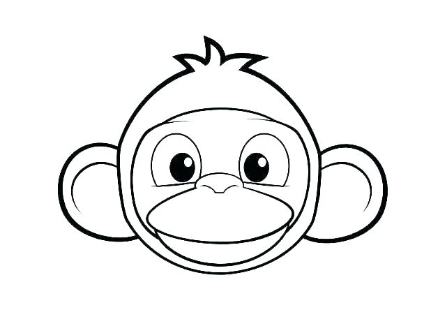 Tranh vẽ chưa tô màu con khỉ đáng yêu cho bé tập tô (3)