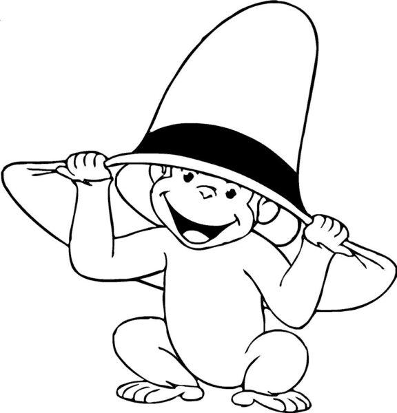 Tranh vẽ chưa tô màu con khỉ đáng yêu cho bé tập tô (4)