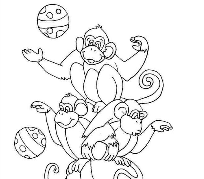 Tranh vẽ chưa tô màu con khỉ đáng yêu cho bé tập tô (5)