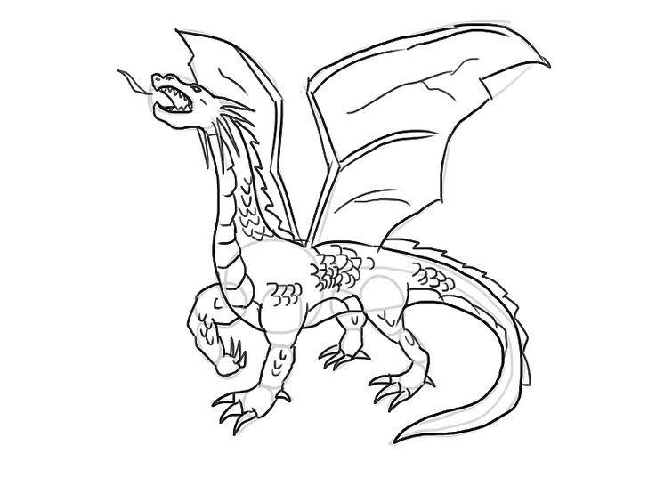 Tranh vẽ chưa tô màu con rồng cho bé tập tô (1)